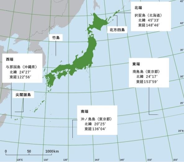 日本列島(緯度・経度)(北端・南端・西端・東端)―「中学受験+塾なし」の勉強法!